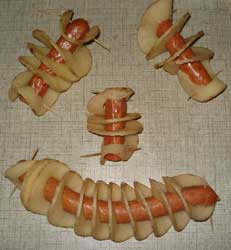 Tornadoes uncooked with meat sausage inside - tornado chipdogs - tornado chip cutter also for chip dogs.